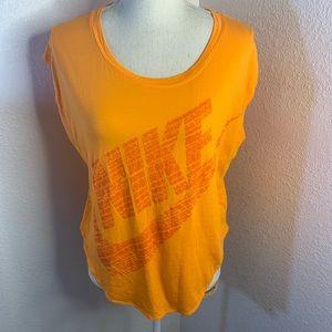 Nike Orange Swoop Neck Cap Sleeved Tee Shirt